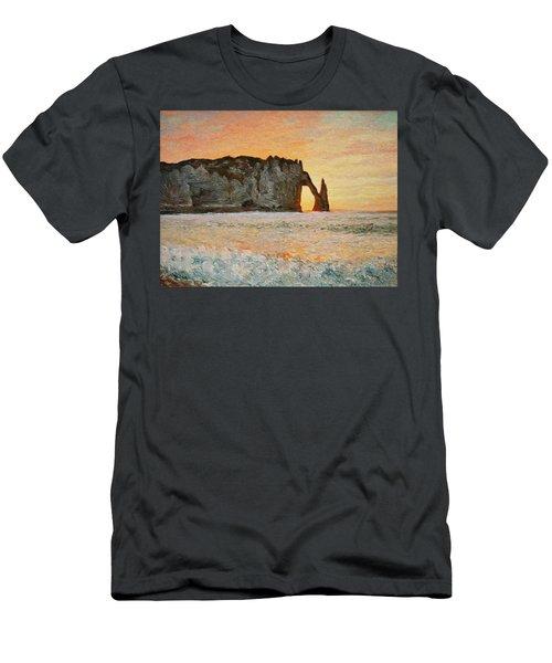 Etretat, Sunset  Men's T-Shirt (Slim Fit) by Pierre Van Dijk