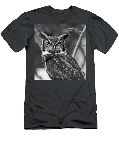 Eurasian Eagle Owl Monochrome Men's T-Shirt (Athletic Fit)