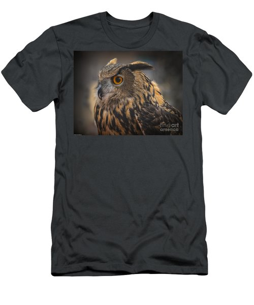 Men's T-Shirt (Slim Fit) featuring the photograph Eurasian Eagle Owl Portrait 2 by Mitch Shindelbower