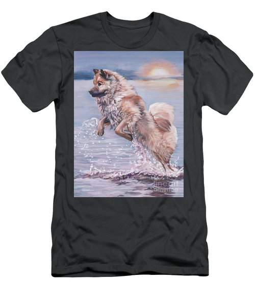 Men's T-Shirt (Slim Fit) featuring the painting Eurasier In The Sea by Lee Ann Shepard