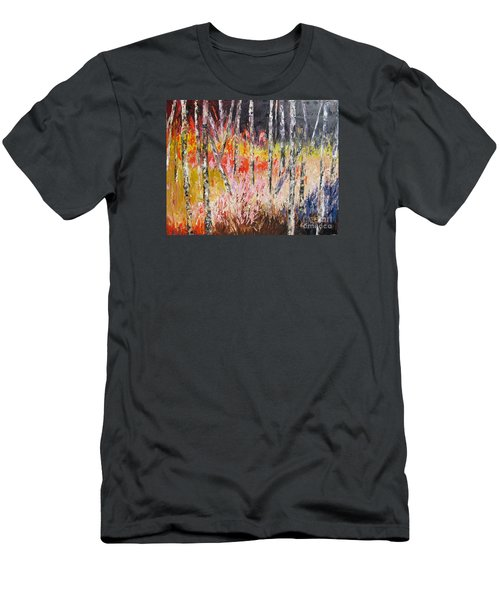 Evening In The Woods Pallet Knife Painting Men's T-Shirt (Slim Fit) by Lisa Boyd
