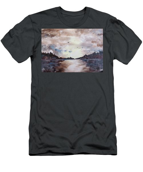Men's T-Shirt (Slim Fit) featuring the painting Evening Light by Geni Gorani