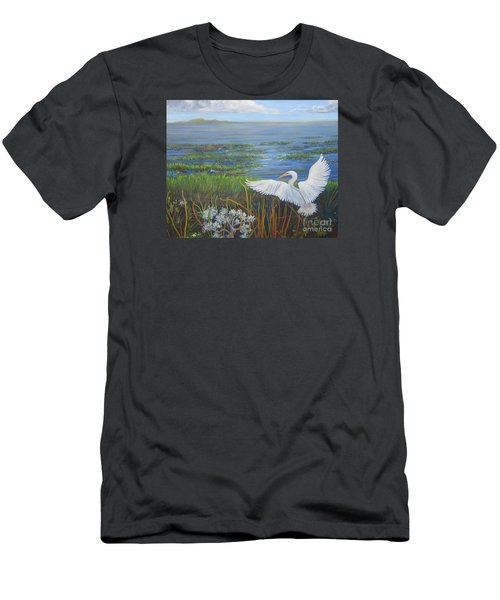 Everglades Egret Men's T-Shirt (Slim Fit) by Anne Marie Brown