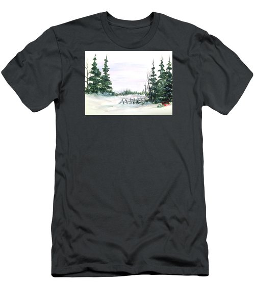 Evergreens In Snow Men's T-Shirt (Slim Fit) by Dorothy Maier