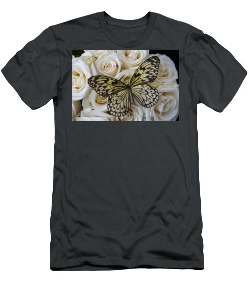 Exotic Butterfly On White Roses Men's T-Shirt (Athletic Fit)