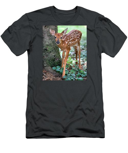 Men's T-Shirt (Slim Fit) featuring the photograph Eye To Eye With A Wide - Eyed Fawn by Gene Walls