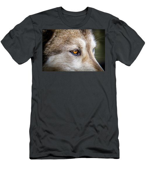 Men's T-Shirt (Slim Fit) featuring the photograph Eyes Of The Gray Wolf by Teri Virbickis