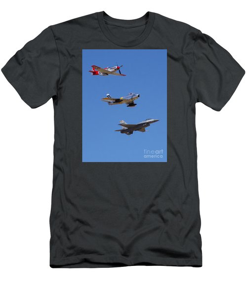 F-16 P-51d F-86 Heritage Flight- Flyby Men's T-Shirt (Athletic Fit)
