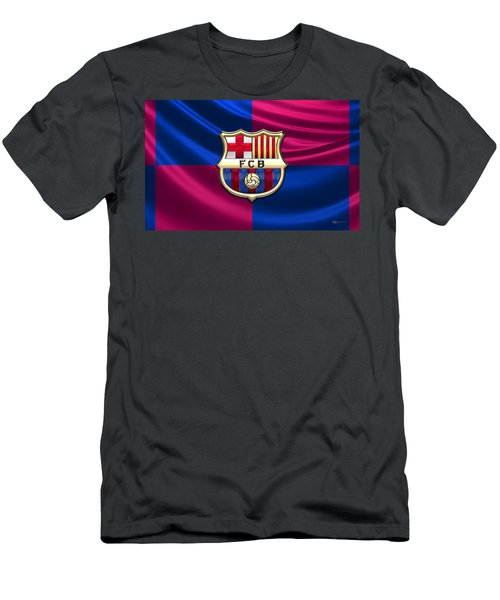 F. C. Barcelona - 3d Badge Over Flag Men's T-Shirt (Athletic Fit)