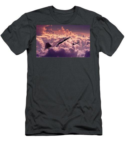 Men's T-Shirt (Slim Fit) featuring the digital art F22 Raptor Aviation Art by John Wills