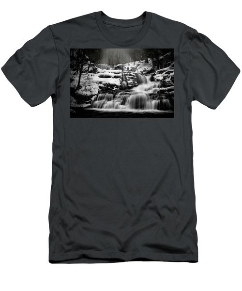 Men's T-Shirt (Athletic Fit) featuring the photograph Factory Falls In Winter by Chris Lord