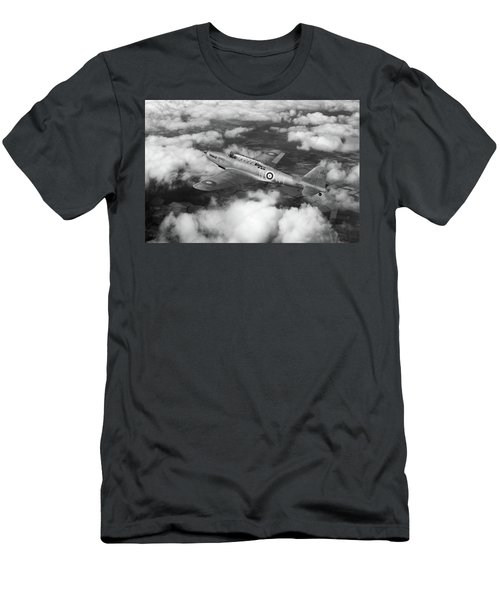 Men's T-Shirt (Athletic Fit) featuring the photograph Fairey Battle In Flight Bw Version by Gary Eason
