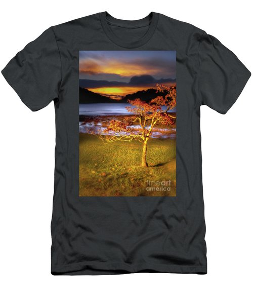 Men's T-Shirt (Slim Fit) featuring the painting Fall Colors At Sunrise In Otter Blue Ridge Ap by Dan Carmichael