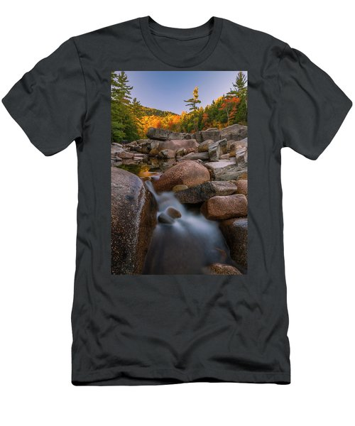 Men's T-Shirt (Slim Fit) featuring the photograph Fall Foliage In New Hampshire Swift River by Ranjay Mitra