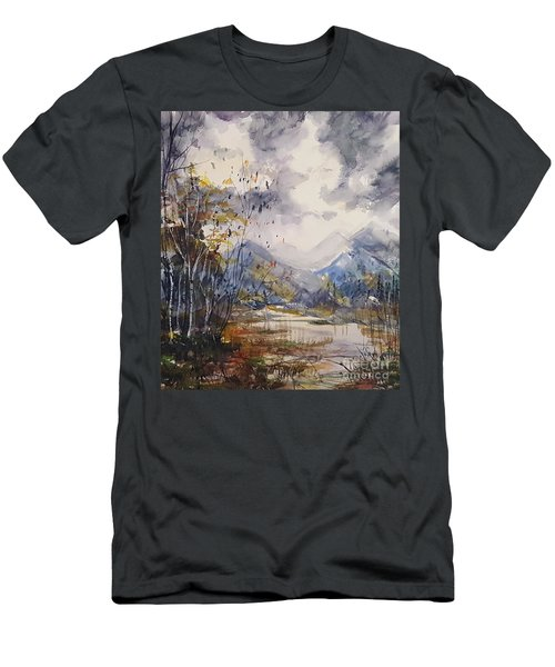 Men's T-Shirt (Athletic Fit) featuring the painting Fall In The Mountains by Reed Novotny
