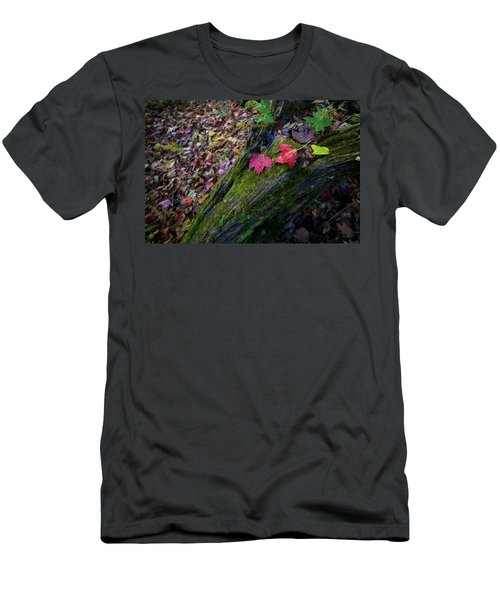 Men's T-Shirt (Athletic Fit) featuring the photograph Fallen Leaves On The Limberlost Trail by Lori Coleman