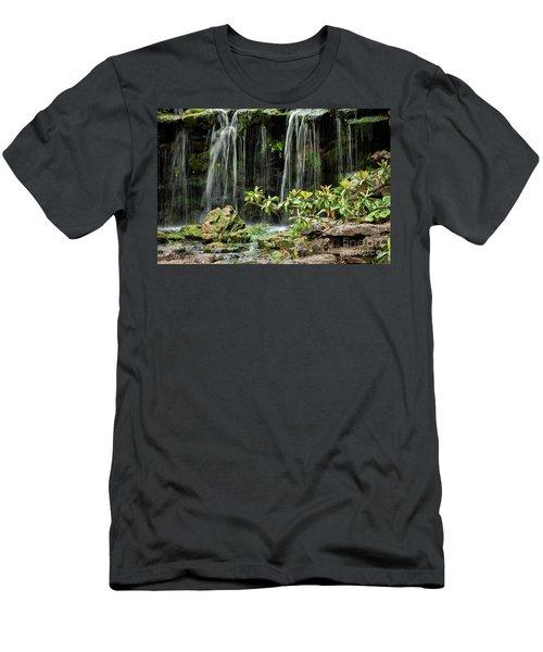 Falling Falls In The Garden Men's T-Shirt (Slim Fit) by Iris Greenwell