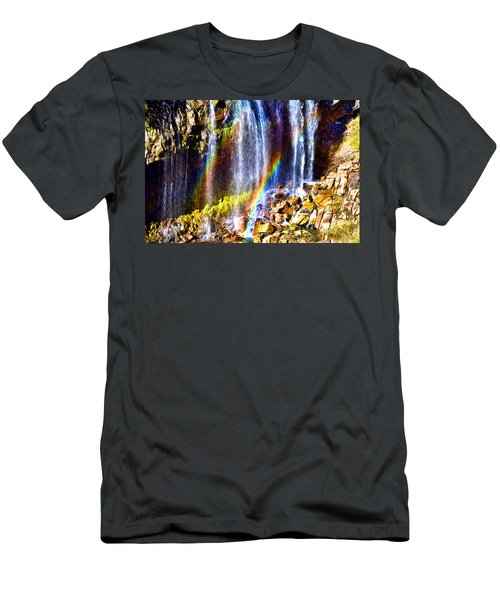 Falling Rainbows Men's T-Shirt (Athletic Fit)
