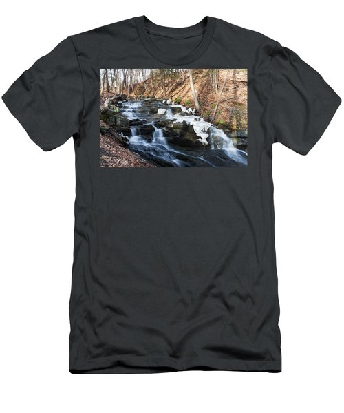 Men's T-Shirt (Slim Fit) featuring the photograph Falling Waters In February #1 by Jeff Severson
