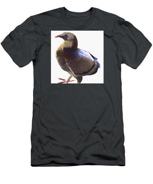 Men's T-Shirt (Slim Fit) featuring the photograph Fancy Pigeon Macro-portrait by Merton Allen