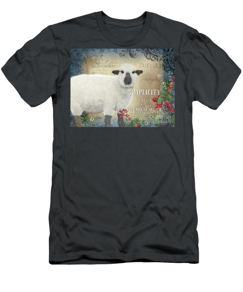Men's T-Shirt (Athletic Fit) featuring the painting Farm Fresh Sheep Lamb Wool Farmhouse Chic  by Audrey Jeanne Roberts