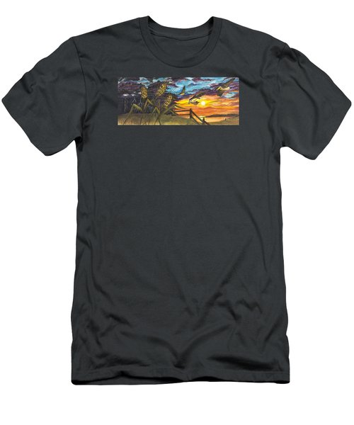 Men's T-Shirt (Athletic Fit) featuring the painting Farm Sunset by Darren Cannell