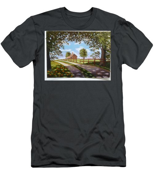 Farmhouse Framed By Trees Men's T-Shirt (Slim Fit)