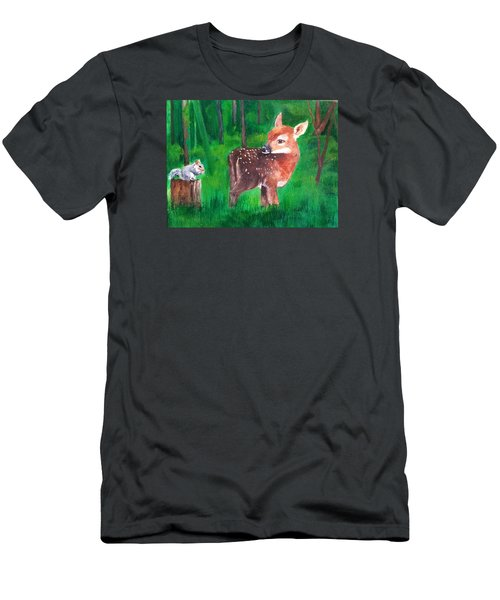 Men's T-Shirt (Slim Fit) featuring the painting Fawn With Squirrel by Ellen Canfield