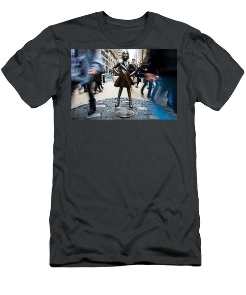 Men's T-Shirt (Athletic Fit) featuring the photograph Fearless Girl by Stephen Holst