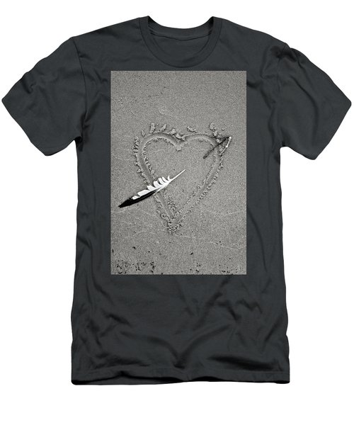 Feather Arrow Through Heart In The Sand Men's T-Shirt (Athletic Fit)
