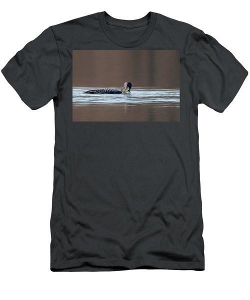 Feeding Common Loon Men's T-Shirt (Slim Fit) by Bill Wakeley