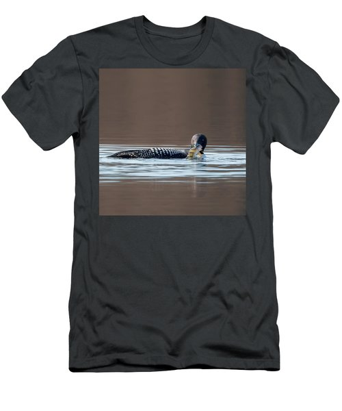 Feeding Common Loon Square Men's T-Shirt (Slim Fit) by Bill Wakeley