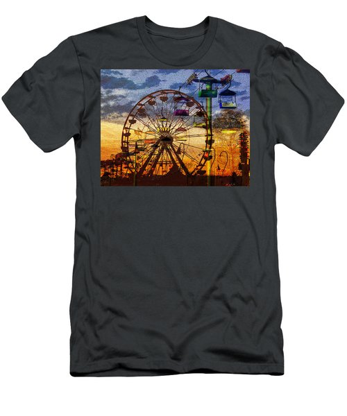 Men's T-Shirt (Slim Fit) featuring the digital art Ferris At Dusk by David Lee Thompson