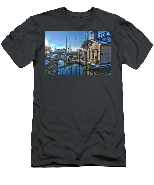 Ferry Harbour In Winter Men's T-Shirt (Slim Fit) by Frans Blok