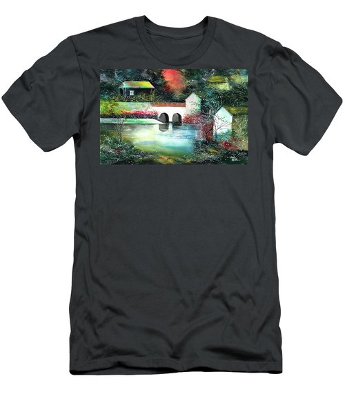 Men's T-Shirt (Slim Fit) featuring the painting Festival Of Lights by Anil Nene