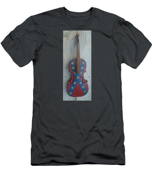 Fiddle Rebel Flag Men's T-Shirt (Slim Fit) by Steve  Hester