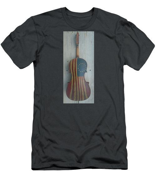 Fiddle Thirteen Star Flag Men's T-Shirt (Slim Fit) by Steve  Hester