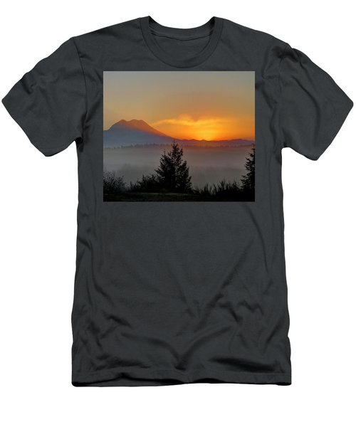 Men's T-Shirt (Slim Fit) featuring the photograph Fiery Fall Sunrise by Peter Mooyman