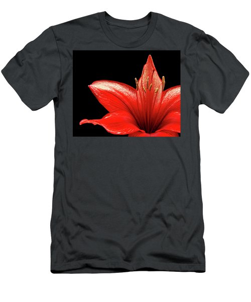 Men's T-Shirt (Slim Fit) featuring the photograph Fiery Red by Judy Vincent