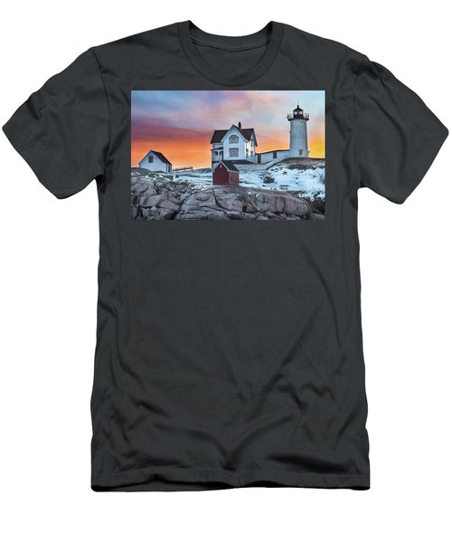 Fiery Sunrise At Cape Neddick Lighthouse Men's T-Shirt (Athletic Fit)