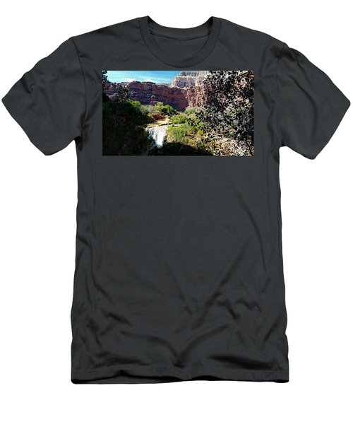 Men's T-Shirt (Slim Fit) featuring the photograph Fifty Falls And Havasupai Falls Havasupai Indian Reservation by Joseph Hendrix