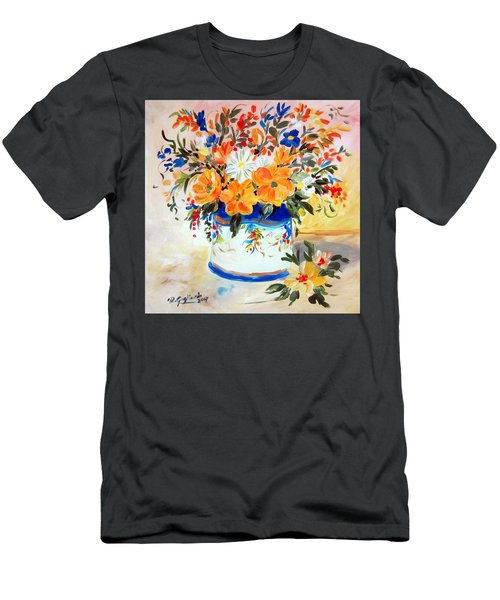 Fiori Gialli Natura Morta Men's T-Shirt (Slim Fit) by Roberto Gagliardi