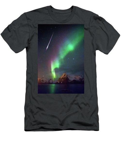 Fireball In The Aurora Men's T-Shirt (Slim Fit) by Alex Conu