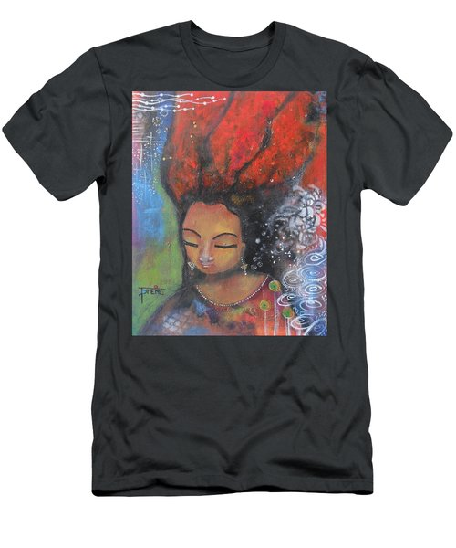 Men's T-Shirt (Slim Fit) featuring the painting Firey Hair Girl by Prerna Poojara