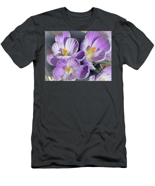 Men's T-Shirt (Athletic Fit) featuring the mixed media First Crocuses On The Sunny Side 6 by Lynda Lehmann
