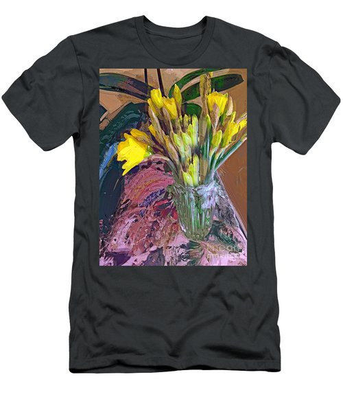 Men's T-Shirt (Slim Fit) featuring the digital art First Daffodils by Alexis Rotella