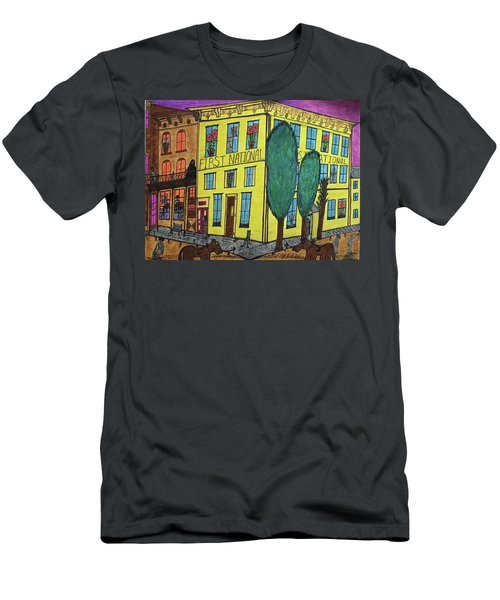 Men's T-Shirt (Slim Fit) featuring the painting First National Hotel. Historic Menominee Art. by Jonathon Hansen