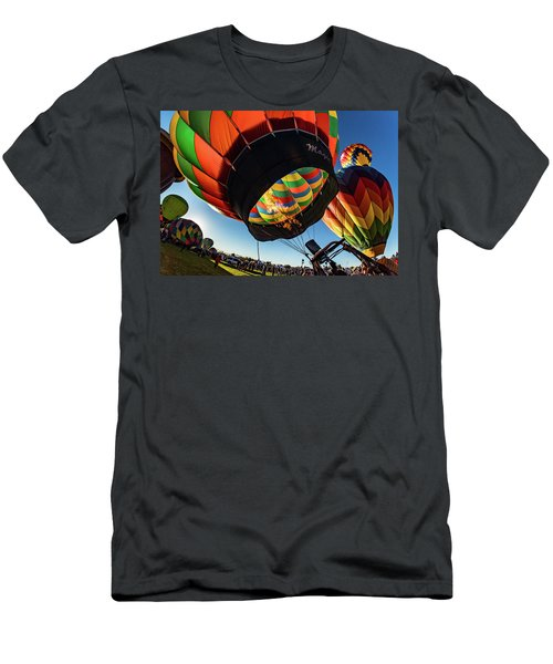 Fish Eye View Of The Balloon Races Men's T-Shirt (Slim Fit) by Janis Knight