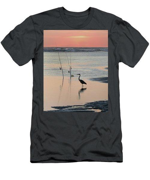 Fisherman Heron Men's T-Shirt (Slim Fit) by Deborah Smith