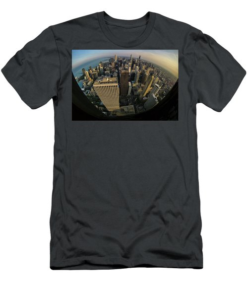 Fisheye View Of Dowtown Chicago From Above  Men's T-Shirt (Athletic Fit)